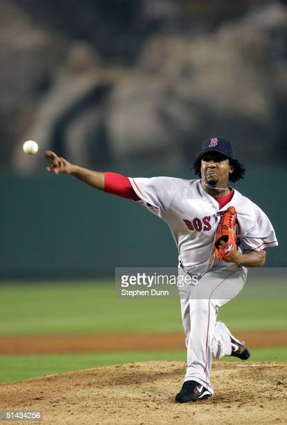 Pitcher Pedro Martinez of the Boston Red Sox pitches against the Anaheim Angels in the second inning of the American League Division Series, Game Two...
