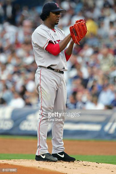 Pitcher Pedro Martinez of the Boston Red Sox prepares to pitch against the New York Yankees during the game at Yankee Stadium on July 1 2004 in the...