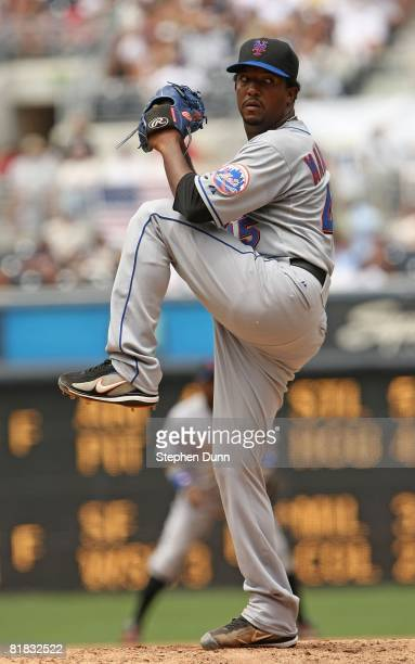 Pitcher Pedro Martinez of the New York Mets throws a pitch against the San Diego Padres at Petco Park June 8 2008 in San Diego California The Padres...