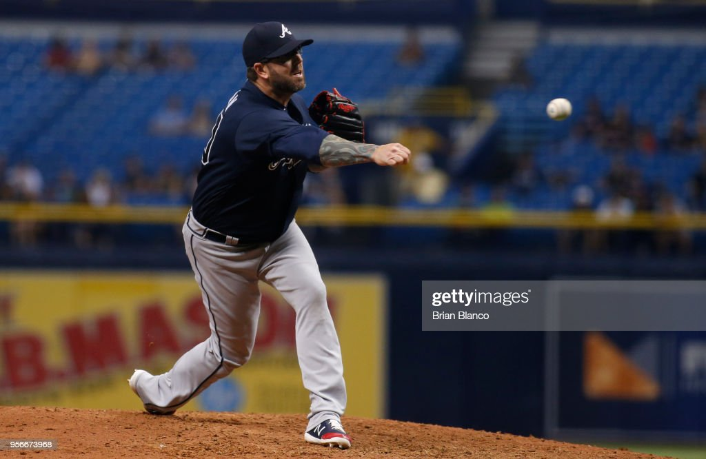Pitcher Peter Moylan #30 of the Atlanta Braves pitches during the eighth inning of a game against the Tampa Bay Rays on May 9, 2018 at Tropicana Field in St. Petersburg, Florida.