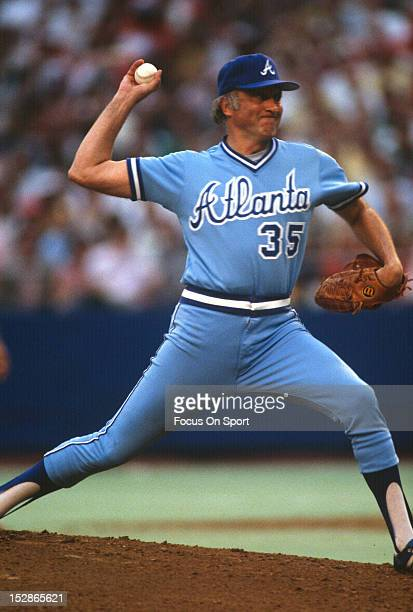 Pitcher Phil Niekro of the Atlanta Braves pitches against the Philadelphia Phillies during an Major League Baseball game circa 1983 at Veterans...