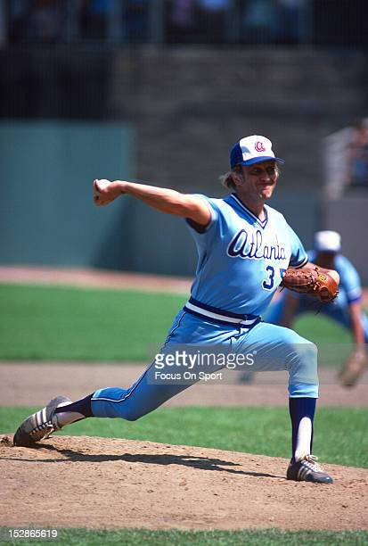Pitcher Phil Niekro of the Atlanta Braves pitches against the New York Mets during an Major League Baseball game circa 1983 at Shea Stadium in the...