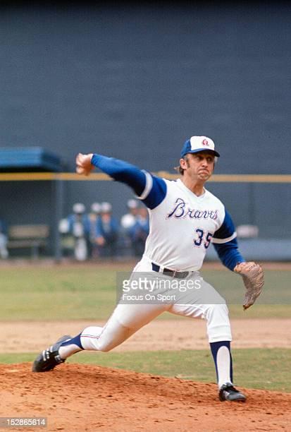 Pitcher Phil Niekro of the Atlanta Braves pitches during an Major League Baseball game circa 1974 at AtlantaFulton County Stadium in Atlanta Georgia...