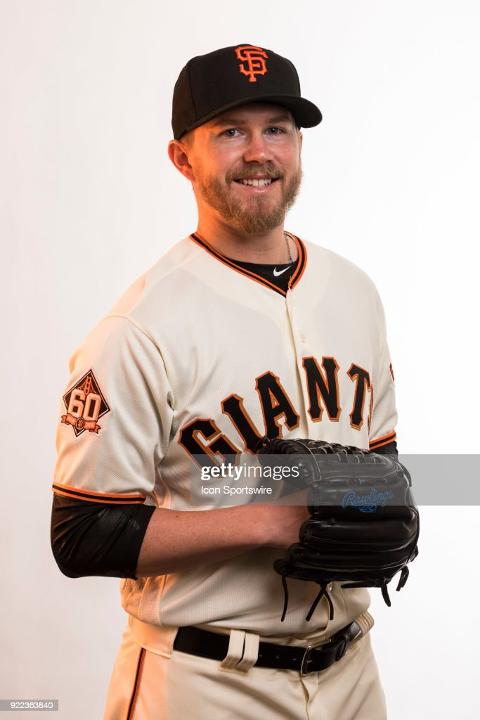 Pitcher Pierce Johnson (58) poses for a photo during the San Francisco Giants photo day on Tuesday, Feb. 20, 2018 at Scottsdale Stadium in Scottsdale, Ariz.
