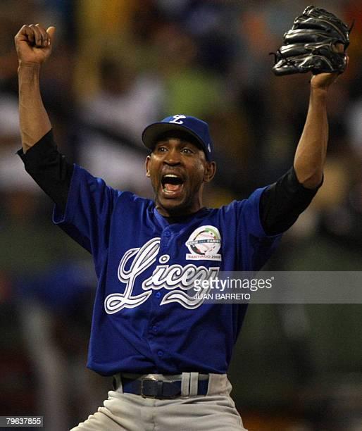 Pitcher Ramon Ortiz of Tigres de Licey of Dominican Republic celebrates during a Caribbean Series baseball game against Aguilas de Cibao also of...