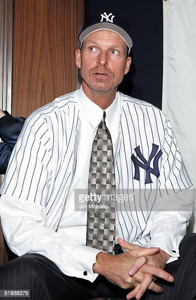 Pitcher Randy Johnson looks on during a press conference on January 11 2005 at Yankee Stadium in the Bronx borough of New York City
