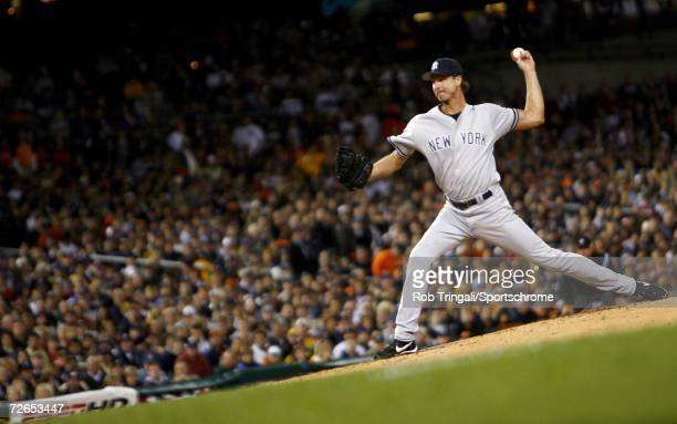 Pitcher Randy Johnson of a New York Yankees pitches against the Detroit Tigers during Game Three of the 2006 American League Division Series on...