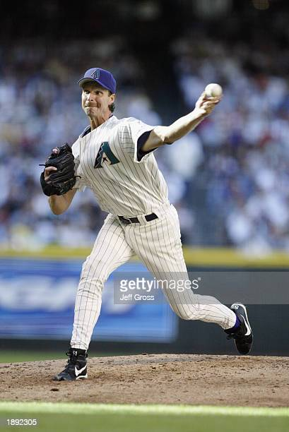 Pitcher Randy Johnson of the Arizona Diamondbacks delivers the ball during the MLB Opening Day game against the Los Angeles Dodgers at Bank One...