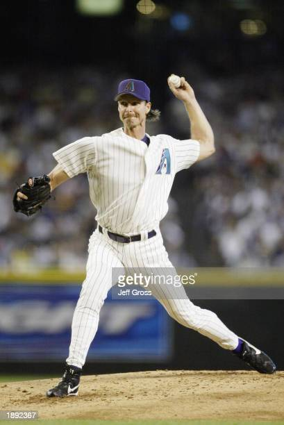 Pitcher Randy Johnson of the Arizona Diamondbacks delivers the ball in the second inning against the Los Angeles Dodgers on Opening Day at Bank One...