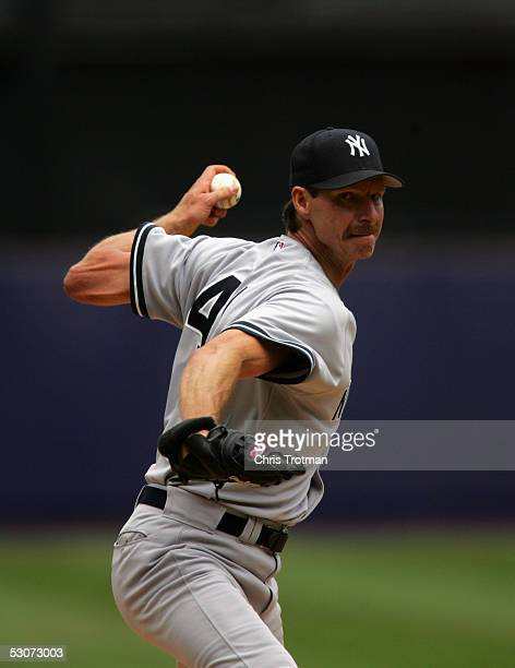 Pitcher Randy Johnson of the New York Yankees delivers a pitch against the New York Mets during the game on May 21 2005 at Shea Stadium in Flushing...