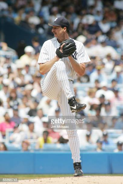 Pitcher Randy Johnson of the New York Yankees pitches against the Los Angeles Angels on July 31 2005 at Yankee Stadium in the Bronx borough of New...