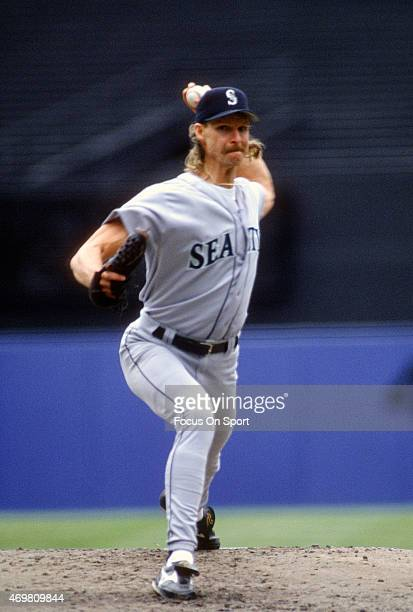 Pitcher Randy Johnson of the Seattle Mariners pitches against the New York Yankees during an Major League Baseball game circa 1995 at Yankee Stadium...