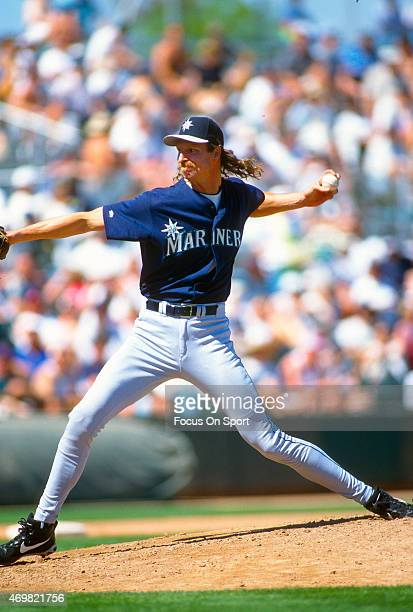 Pitcher Randy Johnson of the Seattle Mariners pitches during an Major League Baseball spring training game circa 1997 Johnson played for the Mariners...