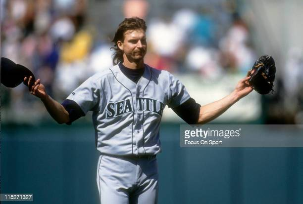 Pitcher Randy Johnson of the Seattle Mariners standing on the mound after pitching against the Oakland Athletics in a Major League Baseball game...