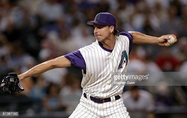 Pitcher Randy Johnson the Arizona Diamondbacks pitches against the San Francisco Giants on September 10, 2004 at Bank One Ballpark in Phoenix,...