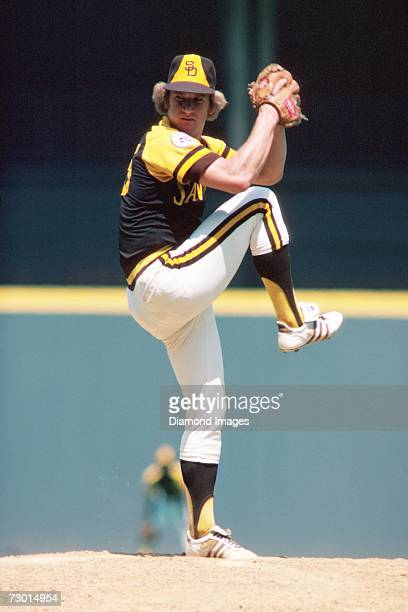 Pitcher Randy Jones of the San Diego Padres delivers a pitch during a game on August 1 1976 against the Cincinnati Reds at Riverfront Stadium in...