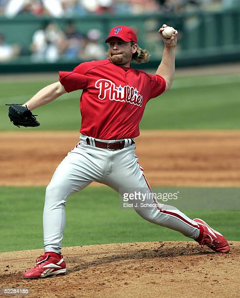 Pitcher Randy Wolf of the Philadelphia Phillies delivers a pitch against the Boston Red Sox on March 6 2005 at Wilbur Billy Smith Field in Fort Myers...