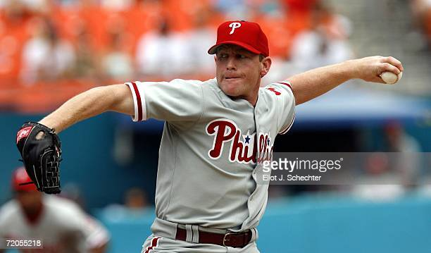 Pitcher Randy Wolf of the Philadelphia Phillies delivers a pitch against the Florida Marlins on September 30 2006 at Dolphin Stadium in Miami Florida