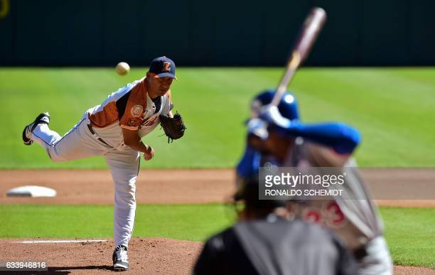 Pitcher Raul Rivero of Aguilas del Zulia of Venezuela throws against Tigres del Licey of the Dominican Republic during the Caribbean Baseball Series...