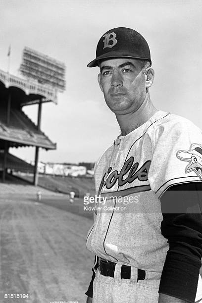 Pitcher Ray Moore of the Baltimore Orioles poses for a portrait prior to a game in 1955 against the New York Yankees at Yankee Stadium in New York...