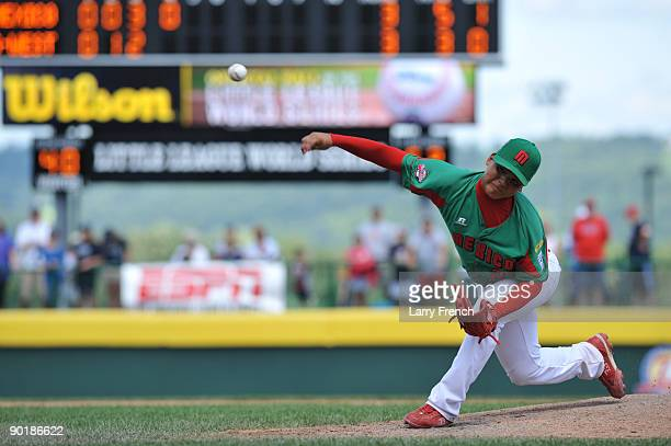 Pitcher Raymond Berronnes of Mexico pitches against Texas in the consolation game at Volunteer Stadium on August 30 2009 in Williamsport Pennsylvania...