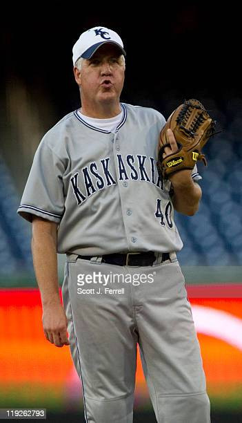 Pitcher Rep John Shimkus RIll catches his breath during the second inning of the 50th Annual Roll Call Congressional Baseball Game held at Nationals...