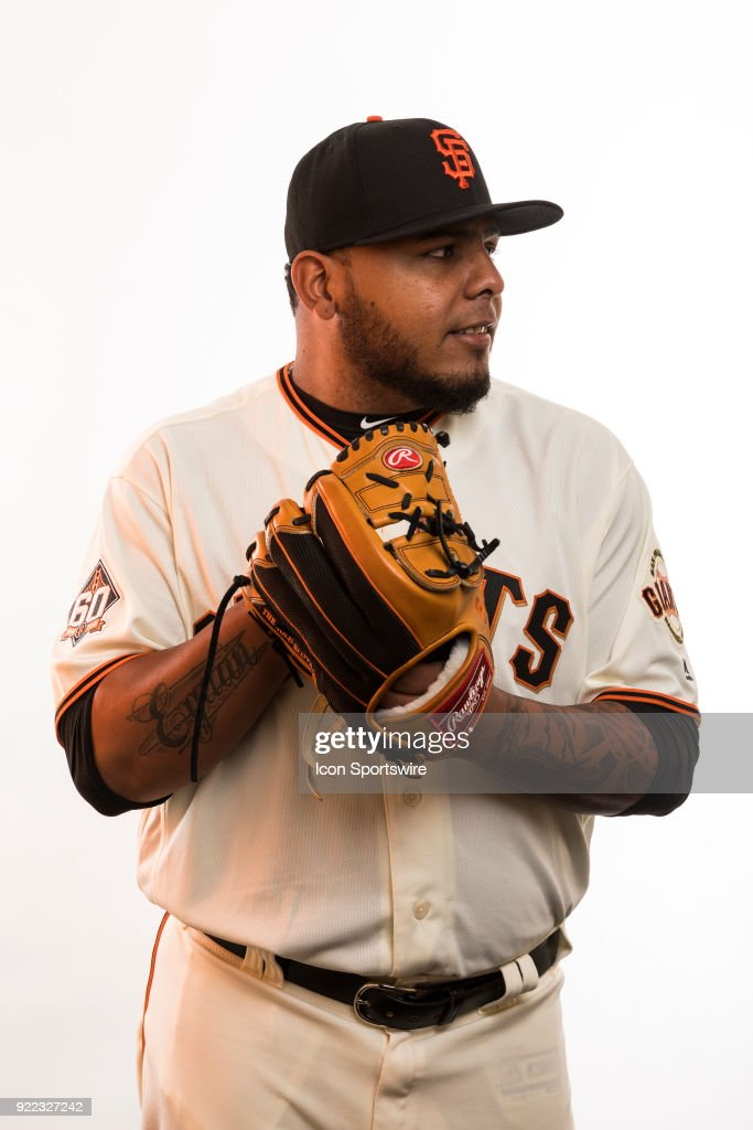 Pitcher Reyes Moronta (54) poses for a photo during the San Francisco Giants photo day on Tuesday, Feb. 20, 2018 at Scottsdale Stadium in Scottsdale, Ariz.