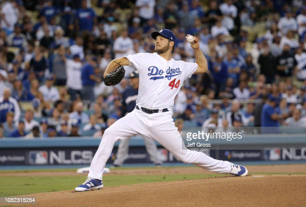 Pitcher Rich Hill of the Los Angeles Dodgers pitches during the first inning of Game Four of the National League Championship Series against the...
