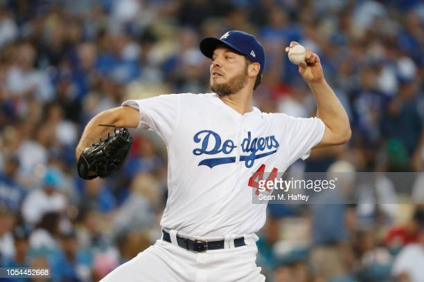 Pitcher Rich Hill of the Los Angeles Dodgers pitches in the third inning during Game Four of the 2018 World Series against the Boston Red Sox at...