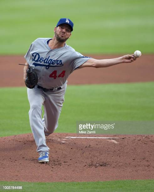 Pitcher Rich Hill of the Los Angeles Dodgers throws a pitch in the first inning during the game against the Atlanta Braves at SunTrust Park on July...
