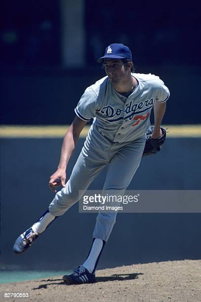 Pitcher Rick Rhoden of the Los Angeles Dodgers throws a pitch during game one of a doubleheader on June 26 1977 against the Cincinnati Reds at...