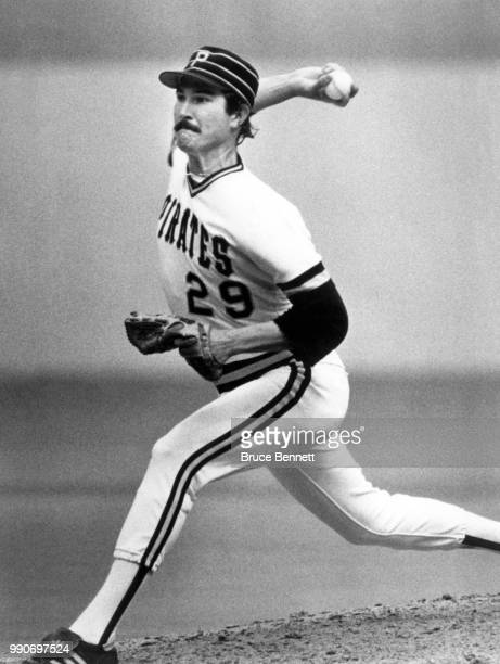 Pitcher Rick Rhoden of the Pittsburgh Pirates throws the pitch during an MLB game circa 1983 at Three Rivers Stadium in Pittsburgh Pennsylvania