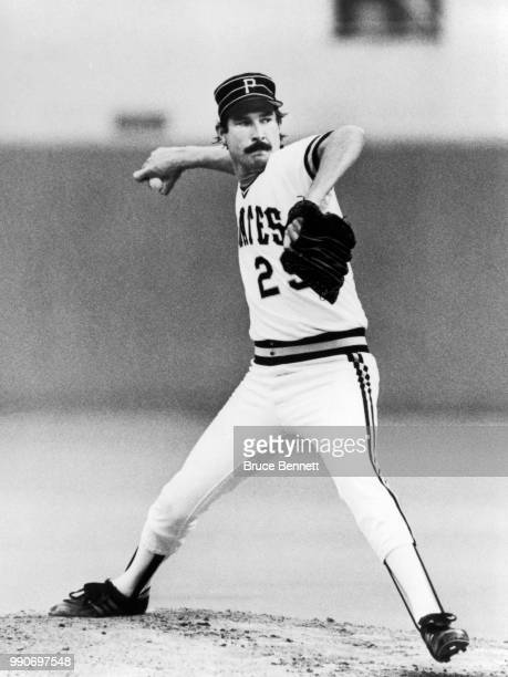 Pitcher Rick Rhoden of the Pittsburgh Pirates throws the pitch during an MLB game circa 1985 at Three Rivers Stadium in Pittsburgh Pennsylvania