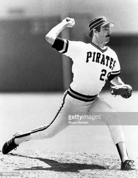 Pitcher Rick Rhoden of the Pittsburgh Pirates throws the pitch during an MLB game circa 1984 at Three Rivers Stadium in Pittsburgh Pennsylvania