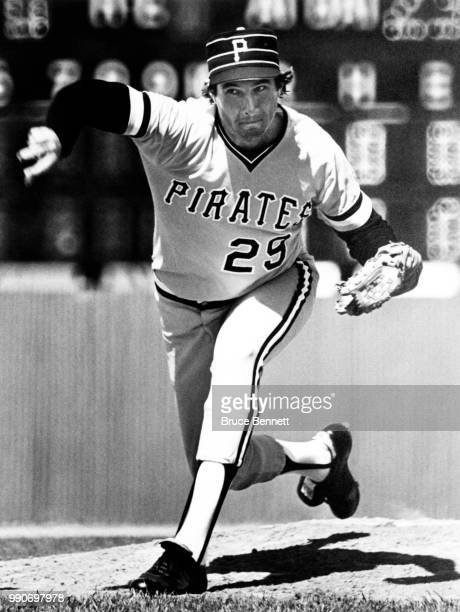 Pitcher Rick Rhoden of the Pittsburgh Pirates throws the pitch during an MLB game circa 1980 at Three Rivers Stadium in Pittsburgh Pennsylvania