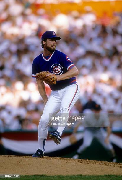 Pitcher Rick Sutcliffe of the Chicago Cubs pitches against the San Francisco Giants during a Major League Baseball game circa 1984 at Wrigley Field...