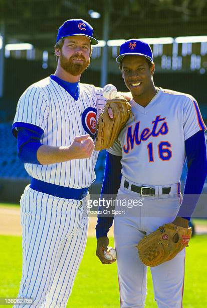 Pitcher Rick Sutcliffe of the Chicago Cubs poses for the photo with pitcher Dwight Gooden of the New York Mets before an Major League Baseball game...