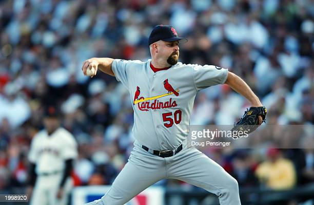 Pitcher Rick White of the St Louis Cardinals delivers the pitch in Game three of the National League Championship Series against the San Francisco...
