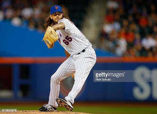 Pitcher Robert Gsellman in action against the Washington Nationals during of a game at Citi Field on September 3 2016 in the Flushing neighborhood of...