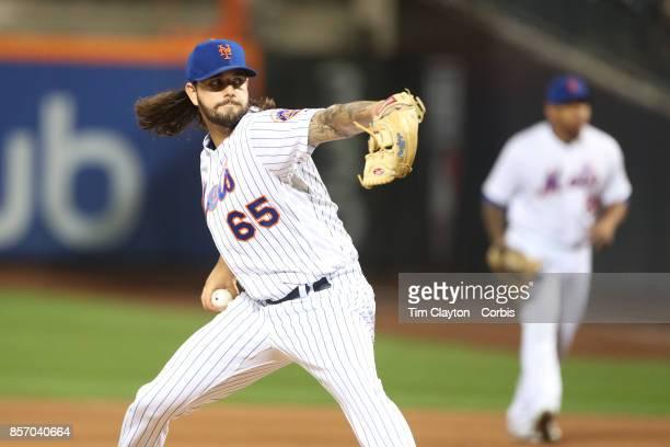 Pitcher Robert Gsellman of the New York Mets pitching during the Washington Nationals Vs New York Mets MLB regular season game at Citi Field Flushing...