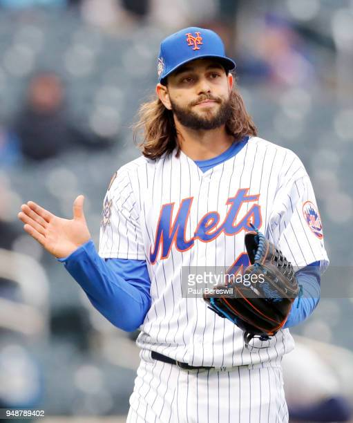 Pitcher Robert Gsellman of the New York Mets reacts during an MLB baseball game against the Milwaukee Brewers on April 15 2018 at CitiField in the...