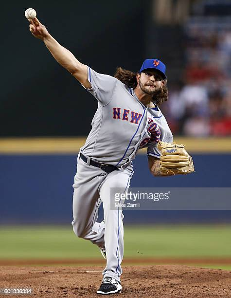 Pitcher Robert Gsellman of the New York Mets throws a pitch in the first inning during the game against the Atlanta Braves at Turner Field on...