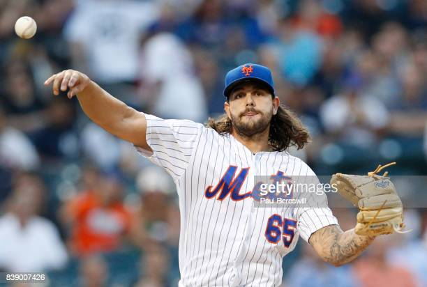 Pitcher Robert Gsellman of the New York Mets throws to first base in an interleague MLB baseball game against the New York Yankees on August 16 2017...