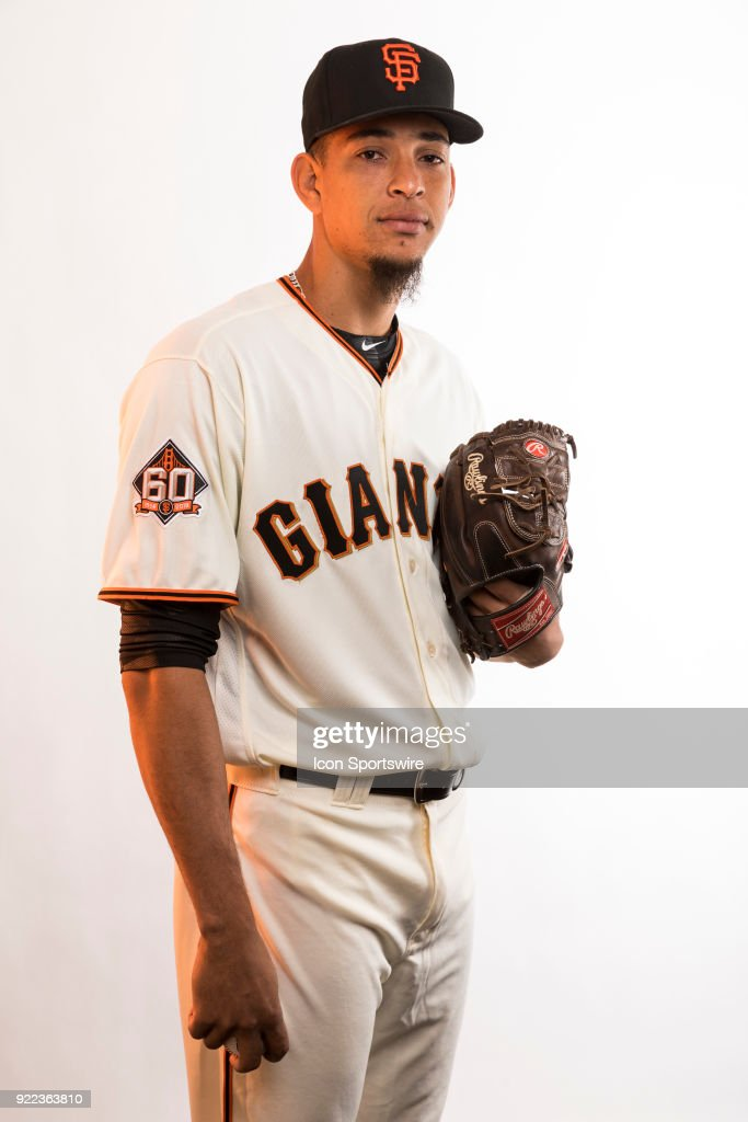 Pitcher Roberto Gomez (67) poses for a photo during the San Francisco Giants photo day on Tuesday, Feb. 20, 2018 at Scottsdale Stadium in Scottsdale, Ariz.