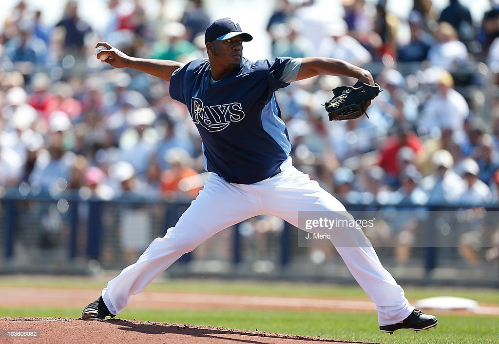 Pitcher Roberto Hernandez #40 of the Tampa Bay Rays pitches against the Boston Red Sox during a Grapefruit League Spring Training Game at the Charlotte Sports Complex on March 16, 2013 in Port Charlotte, Florida.