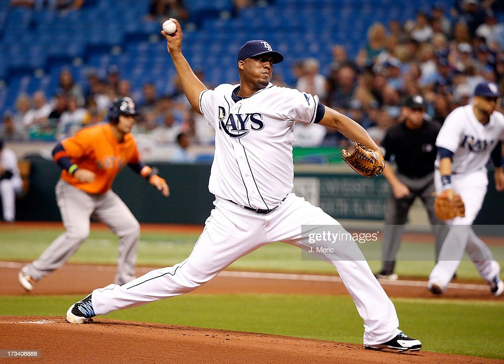 Pitcher Roberto Hernandez #40 of the Tampa Bay Rays pitches against the Houston Astros during the game at Tropicana Field on July 13, 2013 in St. Petersburg, Florida.