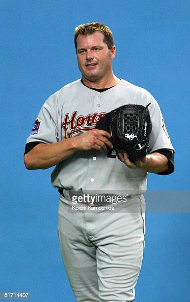 Pitcher Roger Clemens of the Houston Astros looks on during the 5th game of the exhibition series between US MLB and Japanese professional baseball...