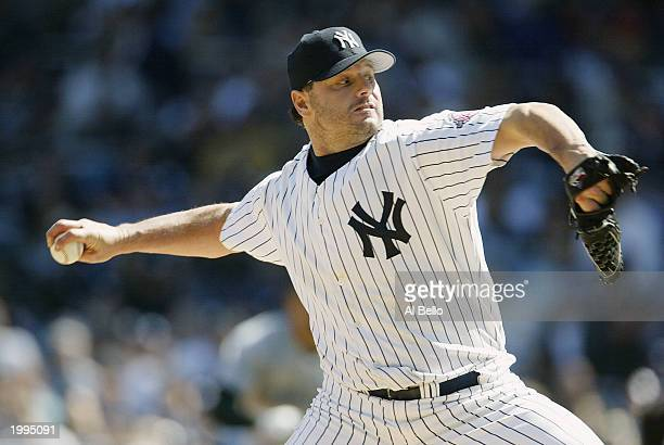 Pitcher Roger Clemens of the New York Yankees throws against the Tampa Bay Devil Rays during the game at Yankee Stadium on April 13 2003 in the Bronx...