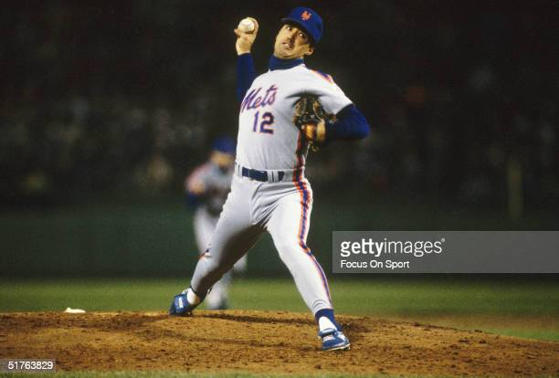 Pitcher Ron Darling of the New York Mets makes a pitch during Game Four of the World Series against the Boston Red Sox at Fenway Park on October 22...