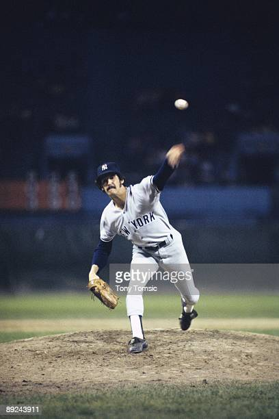 Pitcher Ron Guidry of the New York Yankees throws a pitch during a game on May 18, 1978 against the Cleveland Indians at Cleveland Municipal Stadium...
